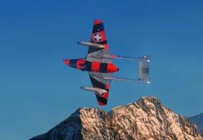 Vampire des Zielfliegerkorps über dem Biancograt