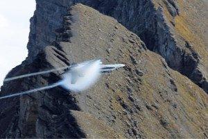 F/A-18C Hornet auf dem Axalp-Schiessparcours