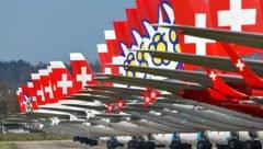 Line-up der Verkehrsflugzeuge auf dem Flugplatz Dübendorf